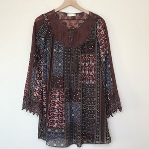 Altar'd State Boho Printed Swing Dress Size S